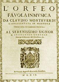 Frontispício da ópera Orfeo de Monteverdi