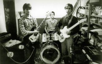 Angelo, Claudio e Fabio durante ensaio em 1985