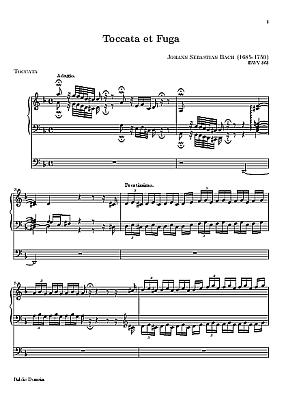 Toccata e Fuga  em Dminor, de autoria de  Bach, BWV 565