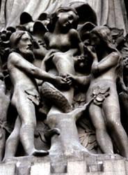 Adão, Lilith e Eva, escultura de 1210, da Catedral de Notre Dame de Paris
